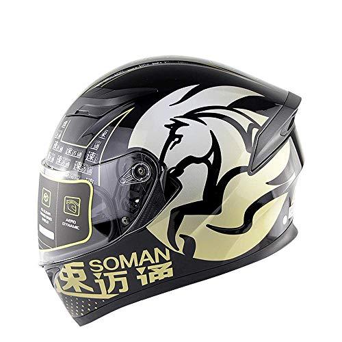 WGFGXQ Motorrad Integralhelm DOT-Zertifizierung Straßenrennen Motorradhelm Cromwell Helm Jet Doppelspiegel Modular Flip Helm (M, L, XL, XXL), Gelb, M.