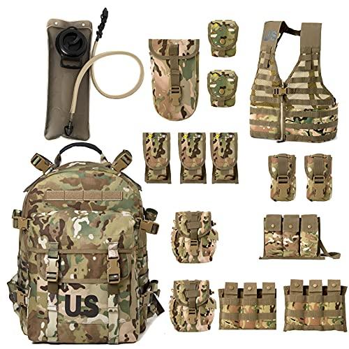 Military Molle II Rifleman Tactical Rucksack Assault Pack,FLC Combat Vest Multicam