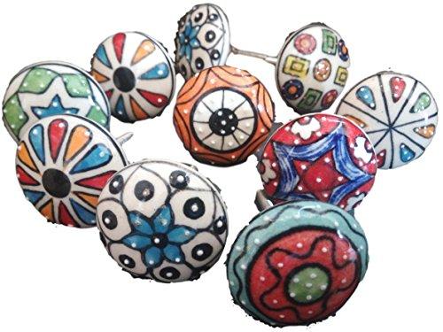 Pushpacrafts - Confezione da 10pomelli, in stile vintage, motivo floreale, in ceramica, per maniglie di porte, armadi, cassetti e credenze