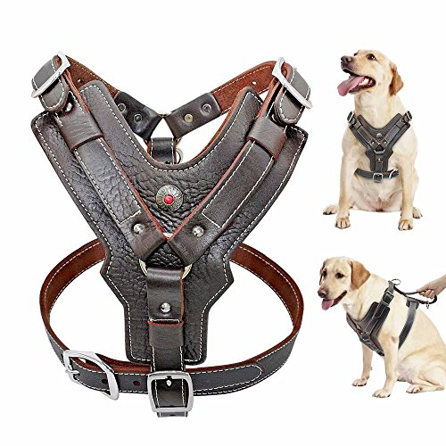 PET ARTIST Leather Large Dog Harness Heavy Duty Vest Thick Soft for Big Dogs Boxer Pitbull Rottweiler Bull Mastiff, Brown Chest:23.5-28'