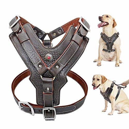 Pet Artist Hundegeschirr aus dickem Leder für mittelgroße große und große Hunde, mit Kontrolle über den Lauf, strapazierfähig, weiche Weste für große Hunde, für Pitbull Boxer Deutscher Schäferhund