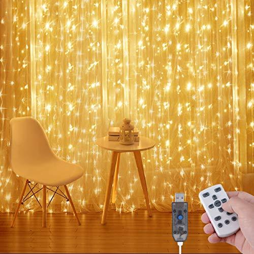 AMBOTHER Lichtervorhang Warmweiß, 3x3M LED Lichterkette Vorhang mit Fernbedienung, 300 LEDs USB Lichterkettenvorhang 8 Modi Dimmbar, IP65 Wasserfest für Party Weihnachten Schlafzimmer Innen und außen