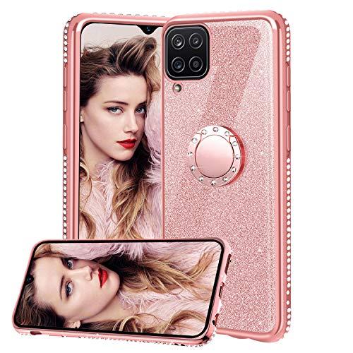 TVVT Glitter Crystal Funda para Samsung Galaxy A12, Glitter Rhinestone Bling Carcasa Soporte Magnético de 360 Grados Ultrafino Suave Silicona Lujo Brillante Rhinestone - Rosa