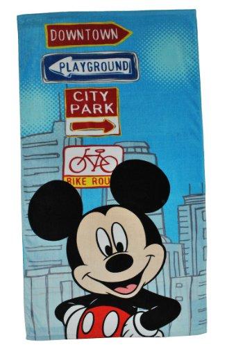 alles-meine.de GmbH Badetuch Mickey Mouse 70 cm * 140 cm Handtuch groß Strandtuch Baumwolle - Jungen / Mädchen Maus Micky 70x140 für Kinder Badehandtuch Disney blau