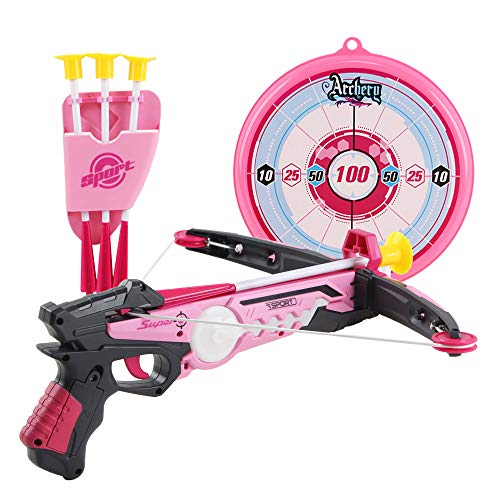 deAO Spielzeug Armbrust Set mit Saugnapfpfeilen und Zielbrett - Tolle Zielspiele für Kinder im Innen- und Außenbereich (pink)