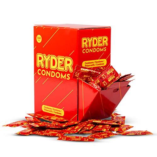 Ryder Kondome – 144 Stück – Normalgröße Kondome in praktischer Großdose, Saugerenden mit Gleitmittel für ein glattes Eindringen