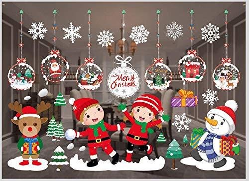 Calcomanías de pegatinas de ventana de Navidad Decoración de puerta de vidrio de ventana de Navidad Pegatinas de exhibición de tienda de Año Nuevo familiar de Feliz Navidad