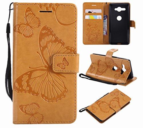 Laybomo für Sony Xperia XZ2 Compact Ledertasche Schuzhülle Weiches TPU Silikon Cover Magnetisch Stehen Brieftasche Schale Handyhülle für Sony XZ2 Compact mit Kartensteckplatz, Schmetterling (Braun)