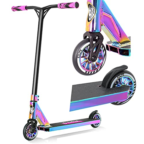 V4 Pro Trick Scooter, Aircraft Aluminum Freestyle Stunt Scooter for Boys Teens Adults and 8 Years Up Kids - Complete Beginner and Intermediate Scooter(Neo Chrome)
