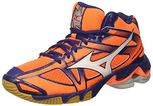 Mizuno Wave Bolt 6 Mid, Scarpe da Ginnastica Uomo, Arancione (Orange Clown Fish/White/Blue Depths), 42.5 EU