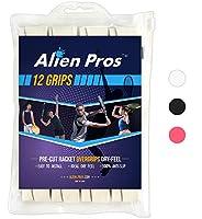 Alien Pros テニスラケットグリップテープ(12グリップ)– プレカット、ドライタイプのテニスグリップ – テニスオーバーグリップテープ、テニスラケット – ラケットに巻いて、高性能にしましょう(12グリップ,ホワイト)