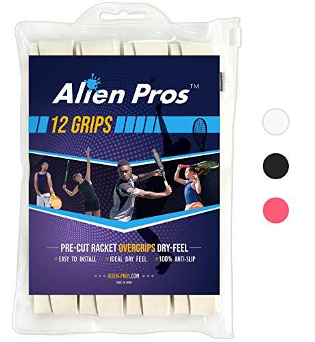 Alien Pros Tennis Racket Grip Tape (12 Grips) – Precut and Dry Feel Tennis Grip – Tennis Overgrip Grip Tape Tennis Racket – Wrap Your Racquet for High Performance (12 Grips, White)