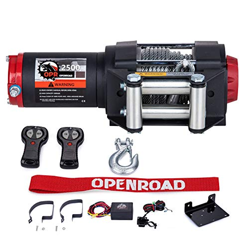 OPENROAD 2500 lb ATV Winch with Steel Cable,12V Cable Winch for UTV,Trailer and Boat, Recovery Winch with 2 pcs Wireless Remote Control