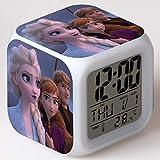 SXWY Frozen Reloj despertador digital Luces de colores Humor Reloj despertador Cuarteto disponible Carga USB Adecuado para niños, niñas y niños Regalos especiales (01)