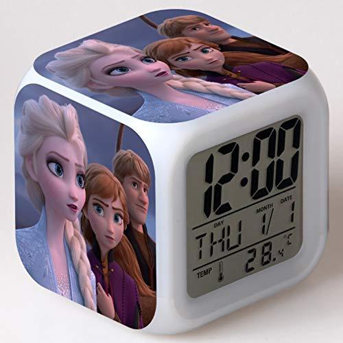 SXWY Frozen - Despertador Digital con Luces de Colores, Despertador de Humor de Cuarzo, Disponible con Carga USB, Apto para niños, niñas y niños
