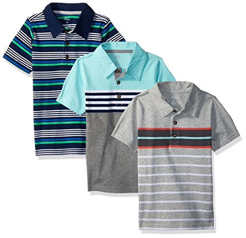 Simple Joys by Carter's Baby Boys' Toddler 3-Pack Short Sleeve Polo, Stripes, 5T