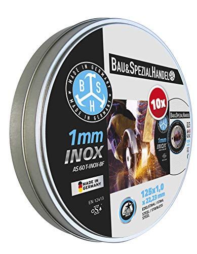 BSH Dischi da taglio in acciaio inox - metallo, 30% più lunga, 125 x 1,0 mm, Made in Germany, confezione da 10 in scatola richiudibile