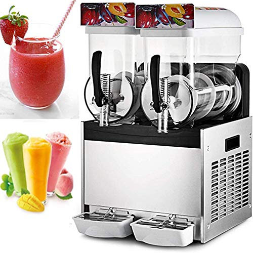 Happybuy Commercial Slushy Machine 110V 400W Stainless Steel Margarita Smoothie Frozen Drink Maker Suitable Perfect for Ice Juice Tea Coffee Making, 15L x 2 Tank
