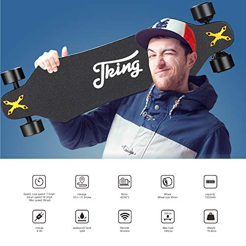 JKING Electric Skateboard Electric Longboard with Remote Control Electric Skateboard,Dual Brushless Motor Each 450W ,26 MPH Top Speed,21.8 Miles Range,3 Speed Adjustment,Max Load 330 Lbs