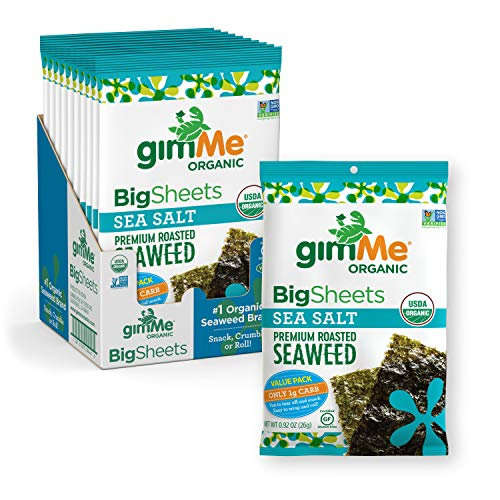gimMe Organic Roasted Seaweed Sheets - Sea Salt - Big Sheets - Keto, Vegan, Gluten Free - Great Source of Iodine and Omega 3's - Healthy On-The-Go Snack for Kids & Adults - (.92oz) - (Pack of 10)