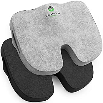 Seat Cushion   2Pk  for Office Chair – Memory Foam Tailbone Pillow Pad for Sitting Computer Desk Chair Car– Contoured Posture Corrector for Sciatica Coccyx Back Pain Relief  Black and Grey