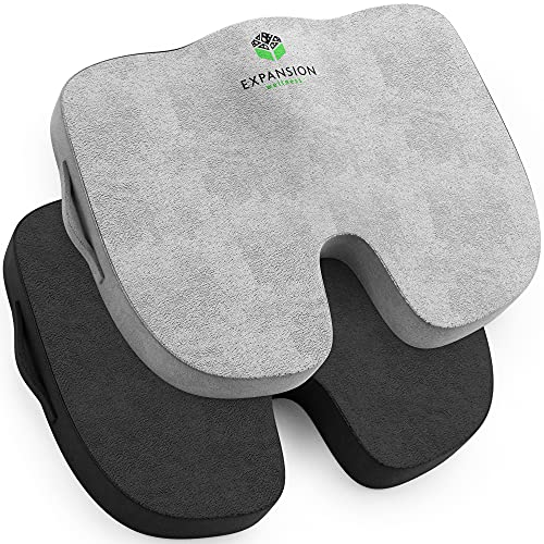 Seat Cushion ( 2Pk) for Office Chair – Memory Foam Tailbone Pillow Pad for Sitting, Computer, Desk, Chair, Car– Contoured Posture Corrector for Sciatica, Coccyx Back Pain Relief (Black and Grey)