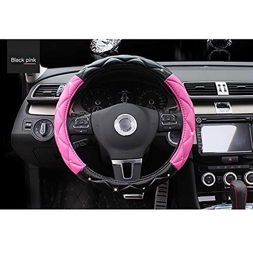 Housse De Volant De Voiture Cuir D'été Diamètre 38Cm Enjoliveur De Roue Respirant Confortable Four Seasons Universal,Pink