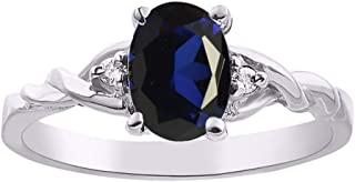 RYLOS Ladies Ring with Oval Shape Gemstone & Genuine Sparkling Diamonds in Sterling Silver .925-7X5MM Color Stone Birthsto...