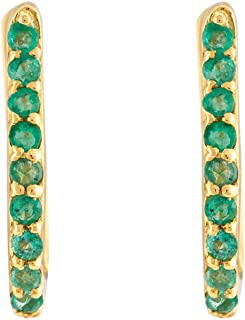 Gehna Yellow Gold, Emerald and Hoop Earrings for Women