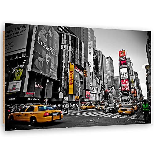 Feeby Wandbild XXL Times Square Deko Kunst Bilder schwarz-weiß 120x80 cm