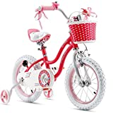Royalbaby Girls Bike Stargirl 16 Inch Girl's Bicycle With Training Wheels Kickstand Basket Child's Girl's Bike Pink