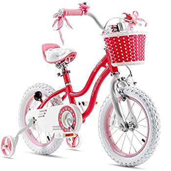 Royalbaby Stargirl Girls Bike with Training Wheels and Basket Best Gifts for Girls Blue Red 12  16  Avaliable  Red 14 Inch