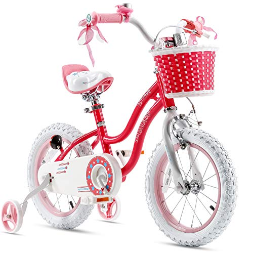 Royalbaby Girls Bike Stargirl 12 Inch Girl's Bicycle With Training Wheels Basket Child's Girl's Bike Pink