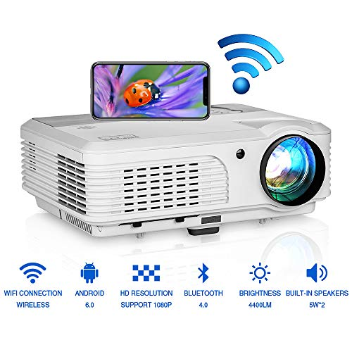 Smart Wifi Wireless Bluetooth Android Projector with HDMI USB Port LED LCD 4400 Lumens Multimedia Home Theater Outdoor Movie Gaming Projectors Support Full HD 1080P for Phone DVD PC Laptop PS4 TV Roku