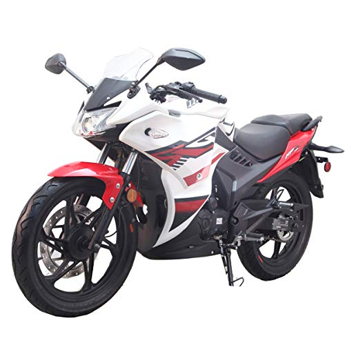 200cc Adult Motorcycle Gas Motorcycle Moped Scooter Lifan KPR 200 Assembled (White/Black)