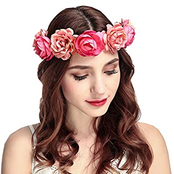 June Bloomy Women Rose Floral Crown Hair Wreath Leave Flower Headband with Adjustable Ribbon  Rose Red
