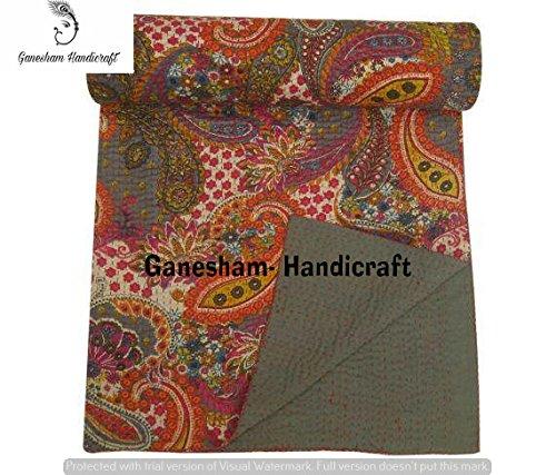 Couvre-lit Kantha vintage pour décoration d'intérieur, couverture indienne, literie bohémienne, couvre-lit pour enfants, couvre-lit réversible, en coton, linge de lit Kantha, drap de lit, couverture de canapé, couvre-lit, couettes design