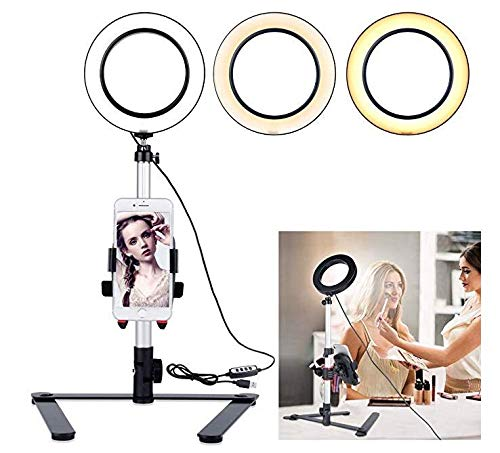NCONCO 5.7 Ring Licht met Desktop Stand voor YouTube Video en Makeup, Mini LED Camera Licht met Mobiele Telefoon Houder Tafel Top LED Lamp met 3 Licht Modi & 11 Helderheid Niveau