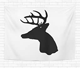 Assp Tapestry Buck Whitetail Deer Head Silhouette Woods Antler Archery Arrow 60x80 Inches Home Decorative Wall Hanging Tapestries for Living Room Bedroom Dorm