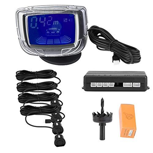 """KIMISS 12V DC Kit de sensor de aparcamiento para coche PDC con 2\"""" pantalla LCD Sistema de detección de automóviles de alta sensibilidad con 4 sensores de radar(Negro)"""