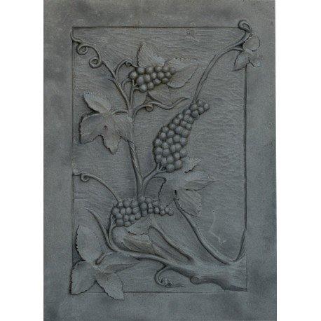 Lunaway Kaminplatte Ofenplatte für Kamin aus Gusseisen - Trauben, Maße: 50 x 70 cm Dicke: 1 cm