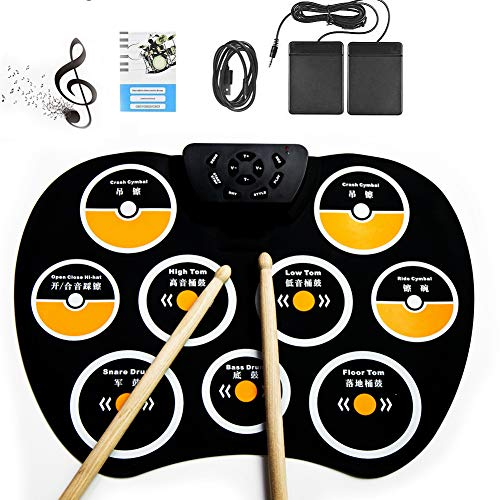 UPANV Tragbares Elektronisches Schlagzeug, Roll-Up-Schlagzeug, 9 Beschriftete Pads Und 2 Fußpedale Touch Sensitive Drum Sticks Kit Mit Kopfhöreranschluss Für Kinder, Anfänger, Erwachsene