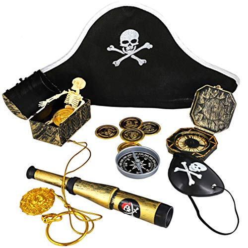 Juvale 100-Pack Pirate Party Favors - Pirate Theme Birthday Party Supplies, Favor Bag Pirate Decorations, Plastic Fake Coins, Pirate Stuff for Halloween Giveaways, Carnival Prizes