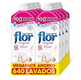 Flor Original Delicado, Suavizante para la Ropa concentrado, Apto para pieles sensibles - Pack De 8, Hasta 640 Dosis