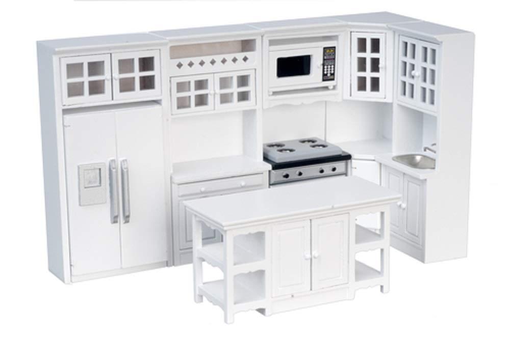 Amazon Com Dollhouse Miniature 1 12 Scale 8 Pc White Kitchen Set T5425 Toys Games