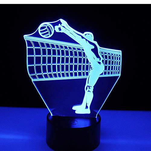 Luz de noche LED 3D Juega al voleibol en frente de la red con 7 colores de luz para la decoración de la lámpara de la lámpara Visualización increíble