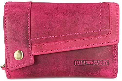 Hill Burry hochwertige Vintage Leder Damen Geldbörse Portemonnaie Dickes und kompaktes Portmonee Geldbeutel aus weichem Leder in pink - 14,5x10x5cm (B x H x T)