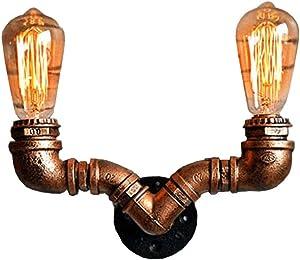 JINWELL Lámpara de Pared E27 Vintage Edison Lámpara de Pared Metal Pantalla Industrial Lámpara de Pared rústica Retro Tubería de Agua Lámpara de Pared Hierro Metal Color óxido 220-240V (sin Bombilla)