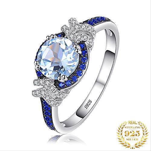 IWINO Blue Spinel Topaz Ring 925 sterling zilveren ringen voor vrouwen verlovingsring zilver 925 edelstenen sieraden