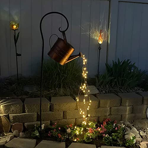 YUNYODA Star Shower Garden Art Light Decoration 35' Led String Lights Watering Can Shape Decor Star Garden Fairy Light with LED Waterproof Sculptures Statues for Yard Lawn (with Bracket, 1 Set)